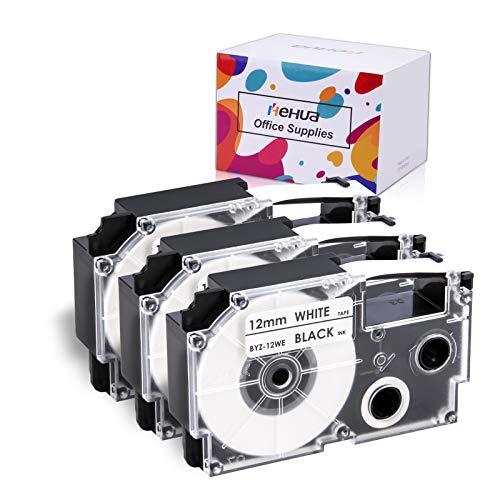 Hehua ネームランドテープ12mm 白底黒文字 カシオ互換テープ12mm 強粘着 防水 3個入り