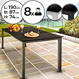 MIADOMODO Gartentisch für bis zu 8 Personen - aus Aluminium und Sicherheitsglas, L/B/H: ca. 190/87/74 cm - Glastisch, Beistelltisch, Gartenmöbel, Terrassemöbel, Balkonmöbel