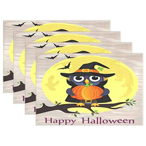 ZDMAHCC Halloween Uil in Heks Kostuum Pompoen Placemats Eettafel Hittebestendige Keuken Tafel Decor Wasbare Tafelmatten Set van 6