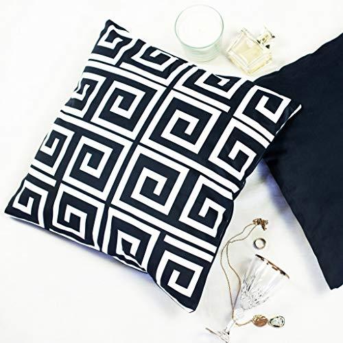 Offtopic Juego de 4 fundas de cojín para sofá, 45 x 45 cm, de terciopelo suave, cojines decorativos elegantes con diseño italiano y moderno, cojines blancos y negros de estilo minimalista