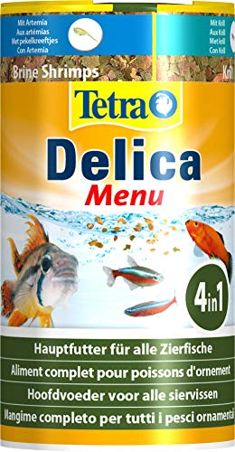 TetraDelica Menu (hochwertiges Naturfutter für Zierfische, Futtermix in 4 Kammern), 100 ml Dose