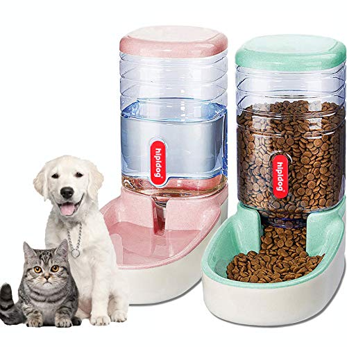 XingCheng-Sport Automatic Pet Feeder Small&Medium Pets Automatic Food Feeder and Waterer Set 3.8L, Travel Supply Feeder and Water Dispenser for Dogs Cats Pets Animals (Pink+Green)