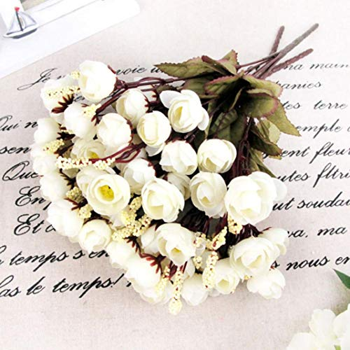 LbojailiAi Flor Artificial 1 unid 15 Cabezas Artificial Rosa Flor de Seda Camelia Peon¨ªa Ramo Fiesta decoraci¨®n de la habitaci¨®n