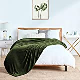 """Walensee Fleece Blanket Plush Throw Fuzzy Lightweight (Twin Size 60""""x80"""" Olive Green) Super Soft Microfiber Flannel Blankets for Couch, Bed, Sofa Ultra Luxurious Warm and Cozy for All Seasons"""