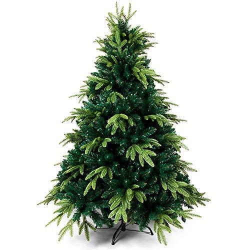 OZAVO Sapin de Noël Artificiel Hauteur 150 cm, Sapin Mélange PE et PVC avec Support en Métal, Arbre de Noël avec 950 Branches - Vert