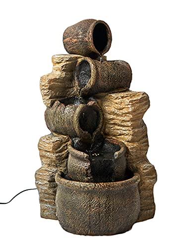 SEINHIJO Fuente de Jardín con Iluminación LED 5 Pots Rocky Decoración Fuente para Patio Exterior 41x39x76cm,Cable de 5m