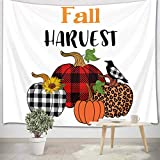 LB Thanksgiving Fall Harvest Tapestry Crow Sunflowers Leaves with Buffalo Check Leopard Pumpkins Tapestry Autumn Fall Tapestry Wall Hanging for Bedroom Living Dining Room Dorm Decor 40' Wx60''L