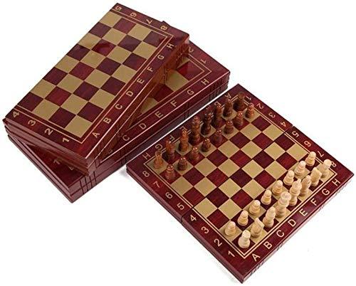 MWKLW Staunton Juego de ajedrez Ajedrez de Madera Tablero de ajedrez Tablero Plegable Juego de ajedrez Juego Internacional de ajedrez para Fiestas Actividades Familiares Juego de ajedrez para niños
