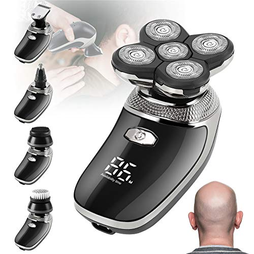 Maquina De Afeitar,Recargable Afeitadora Cabeza Hombre Navaja de cabeza calva USB Afeitadoras rotativas Sin cable Impermeable Afeitadora eléctrica Barbero con Cepillo de limpieza facial