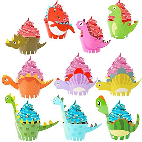 HOWAF Dinosaurier Cupcake Wrapper, 40 Stücke Dino Cupcake Wrapper, Dinosaurier Muffinförmchen Dino Kuchen Muffins Dekoration Verpackung für Kinder Geburtstag Dinosaurier Party Deko