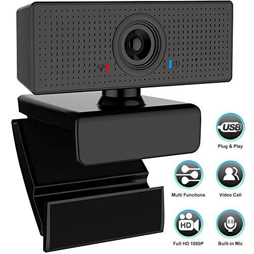Swonuk PC Laptop 1080P Webcam mit Mikrofon USB 2.0 Webkamera Computer Kamera für Skype Videoanrufe, Konferenzen, Studieren, Live-Streaming und Spiele