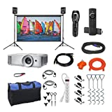 Indoor/Outdoor Theater Kit   Silverscreen Series System   Projection Screen with 1080pHD Savi 4000 Lumen Projector, Sound System, Streaming Device w/WiFi (SS-100)