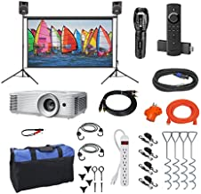 Indoor/Outdoor Theater Kit | Silverscreen Series System | Projection Screen with 1080pHD Savi 4000 Lumen Projector, Sound System, Streaming Device w/WiFi (SS-100)