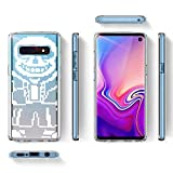 Clear Case for Samsung Galaxy S10 Video Game Undertale Characters Sans Pattern {Word} TPU Bumper Anti Scratch Thin Protective Cover