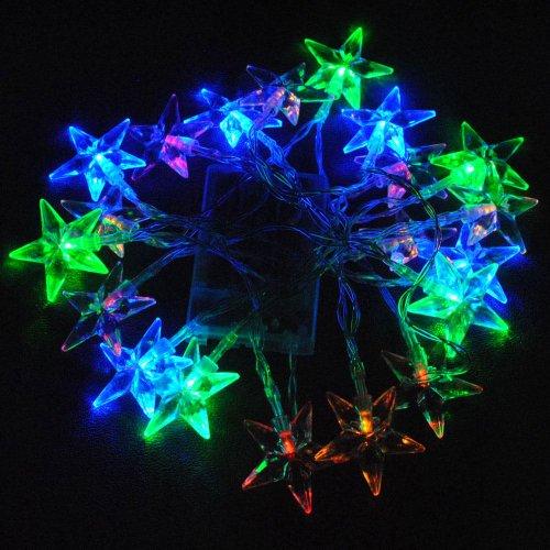 JnDee à batterie multi couleurs (Rouge, Vert, Bleu et Jaune) en forme d'étoile Guirlande lumineuse à LED 2 m 20LED – Fonctions on/off/Flash, parfait pour Noël mariage et les fêtes