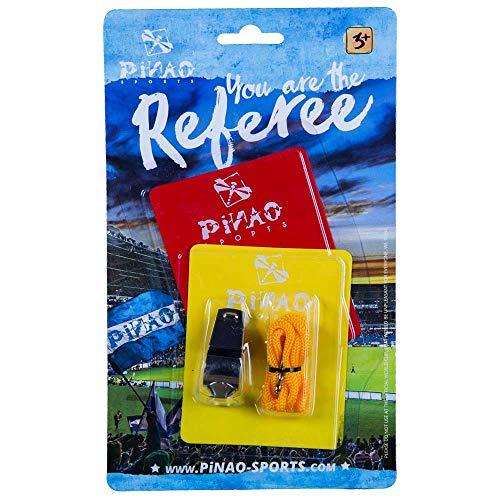PiNAO Sports - Schiedsrichterset (24005) [Kinder, Schiedsrichter, rote Karte, gelbe Karte, Pfeife, Trillerpfeife, Karten-Set]