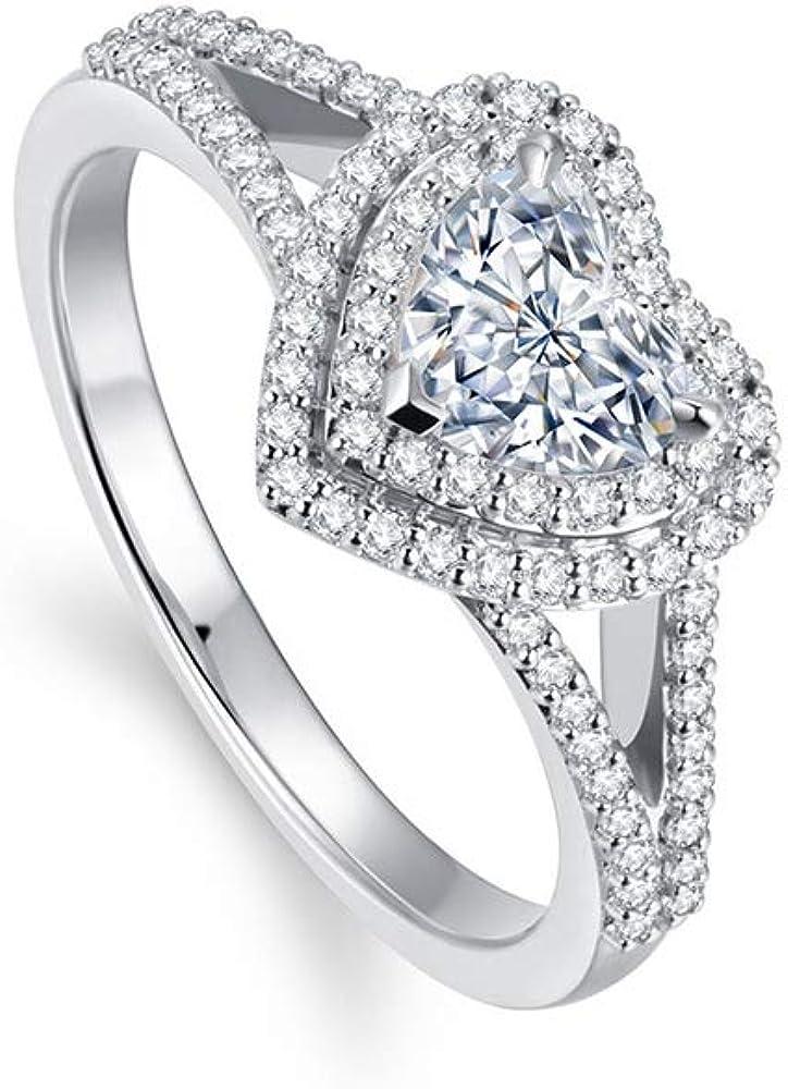 1-3 5 ct. tw. Heart-Cut Sterling Moissanite Elegant 925 Silver Engagemen Price reduction