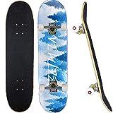 Skateboard Completo para Adultos y Niños con Rotamiento 31'x 7.8' para Principiantes, 7 Capa Monopatín Madera Arce Tabla Double Kick