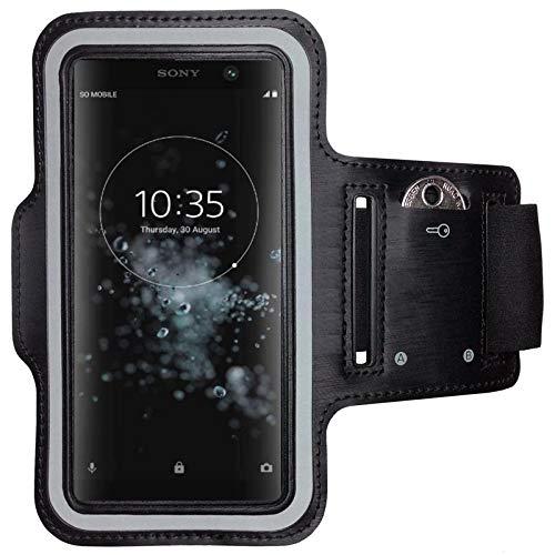 CoverKingz Armtasche für Sony XA2 Plus Sportarmband mit Schlüsselfach, Laufarmband Fitness, Handy Armband Schwarz