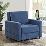 BINGTOO Sleeper Chair Bed- Convertible Chair Bed Sleeper, Pull Out Sleeper Chair Bed with Storage, Modern Chair Beds Sleeper Sofa Couch Bed for Living Room, Linen Fabric (Blue)