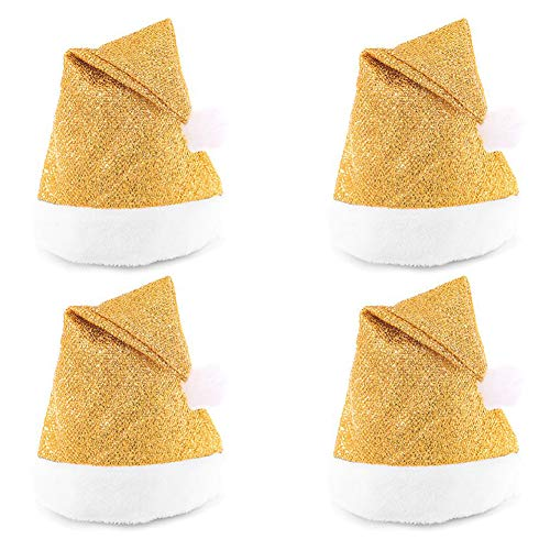 Lesirit Christmas Santa Sequin Hat Xmas Christmas Costumes Accessories Decoration Hat Party Supplies,Pack of 4 (Gold,C)