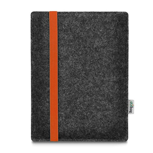 stilbag e-Reader Tasche Leon für Energy Sistem eReader Pro HD | Wollfilz anthrazit - Gummiband orange | Schutzhülle Made in Germany