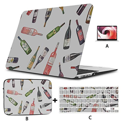 Computer Case Enjoy Beautuful Retro Art Red Wine Laptop Case MacBook Pro Hard Shell Mac Air 11'/13' Pro 13'/15'/16' with Notebook Sleeve Bag for MacBook 2008-2020 Version