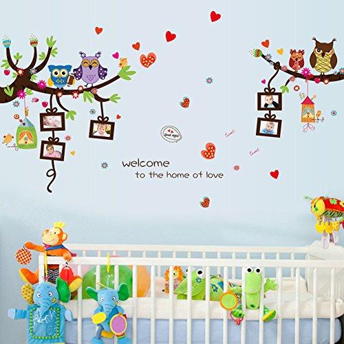Enfants B/éb/é Chambre P/épini/ère DIY D/écoratif Stickers Mural Wallpark Mignon Dessin anim/é Hiboux /& Oiseaux sur Branche darbre avec Lapin /& Champignon Amovible Stickers Muraux Autocollants