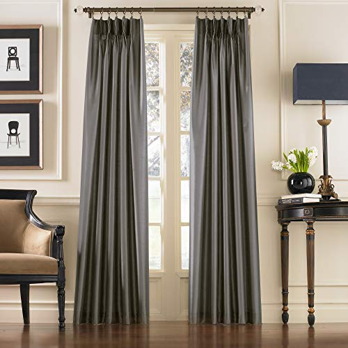 "Curtainworks Marquee Faux Silk Pinch Pleat Curtain Panel, 30 by 84"", Pewter,1Q80000GPT"
