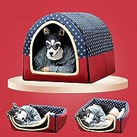 BEAAE-net ペット犬小屋の大型犬の四季普遍的な取り外しと洗える小さな中型犬のベッド冬暖かい家-赤_XL)
