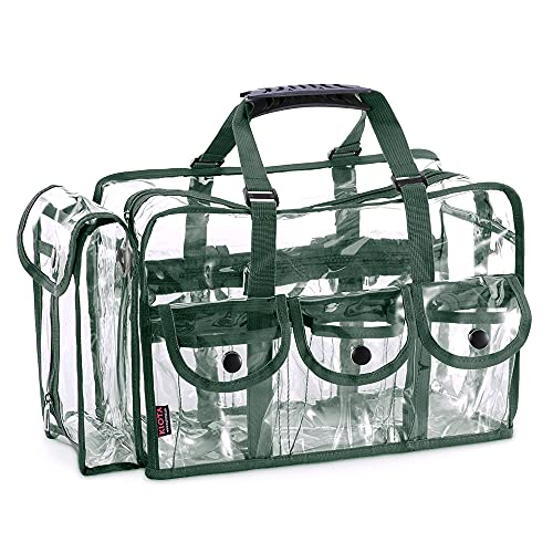 KIOTA Makeup Artist Storage Bag, Clear Cosmetic Bag with Side Pockets and Shoulder Strap, Ergonomic Handle, ON THE GO Series - Olive Trim