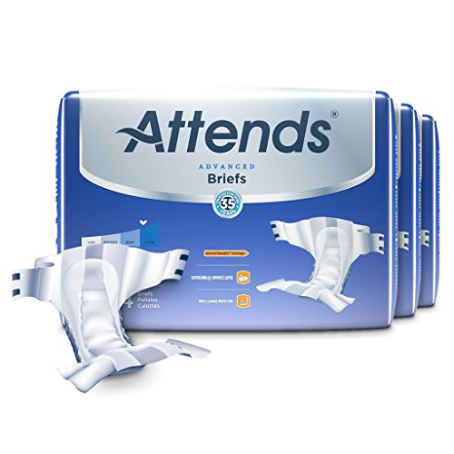 Attends Advanced Briefs with Advanced Dry-Lock Technology for Adult Incontinence Care, Large, Unisex, 24 Count (Pack of 3)