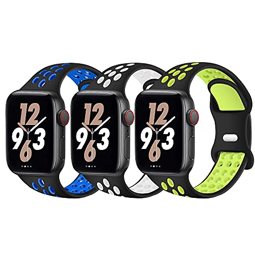 Pulsera compatible con Apple Watch, 3 unidades, 38 mm, 40 mm, 42 mm, 44 mm, silicona suave, repuesto compatible con Apple Watch SE/iWatch Series 6 5 4 3 2 1 correa de silicona, 38mm/40mm,