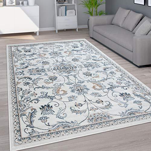 Paco Home Teppich Wohnzimmer Kurzflor Orientalisches Muster Ornamente Modern Beige Blau, Grösse:160x220 cm