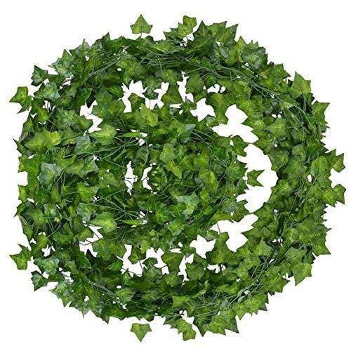 12pcs Artificial Ivy Green Leaf Garland Plants Artificial Pant Vine Fake Foliage Plastic Rattan String Wall Decor Home Decor 2M (Color : 12Pcs)
