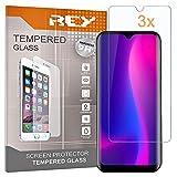 REY 3X Protector de Pantalla para BLACKVIEW A60 - A60 Pro, Cristal Vidrio Templado Premium