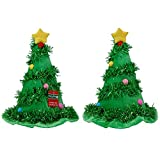 Merry Brite Christmas Tree Hat with Tinsel Santa Hat (2 Pack) Holiday Costume Hat for Adults and Teens - 17 Inch One Size Fits Most