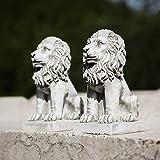 Homezone 2 Stück Steineffekt Harz Sitzen Löwen Tiere Garten Verzierungen