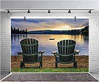 GooEoo 9x6ft 自然の風景をテーマにした湖畔の写真の背景に2つの木製の椅子子供の誕生日パーティーバナー写真スタジオの小道具家族のパーティーの誕生日背景ベビーシャワービニール素材