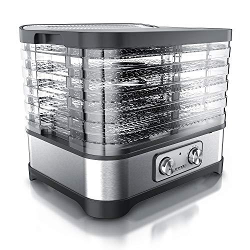 Arendo - Dörrautomat mit Temperaturregler - Edelstahl Dörrgerät für Lebensmittel Fleisch Früchte Gemüse - 260 W - 35-70 Grad - 5 Einlegefächer - GS - Dehydrator - BPA frei