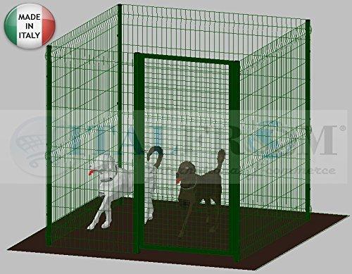 ITALFROM Enclos modulaire pour Chiens en Fer zingué et Verni Vert avec poteaux à Enfiler – 200 x 200 x 172 h cm