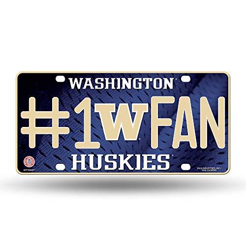 Rico NCAA Washington Huskies #1 Fan Metal License Plate Tag