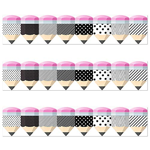Bold Bright Striped Spotted Pencils Border Trim - Bulletin Borders Stickers, 50 ft Back-to-School Decoration Borders for Black Board Trim, Teacher/Student Use for Classroom/School Decoration