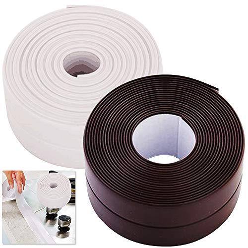 2PCS Cinta adhesiva de sellado de pared de baño, resistente al agua, a prueba de moho Impermeable, protector de pared para cocina, baño, esquina, blanco y Marrón 3.2m x 38mm