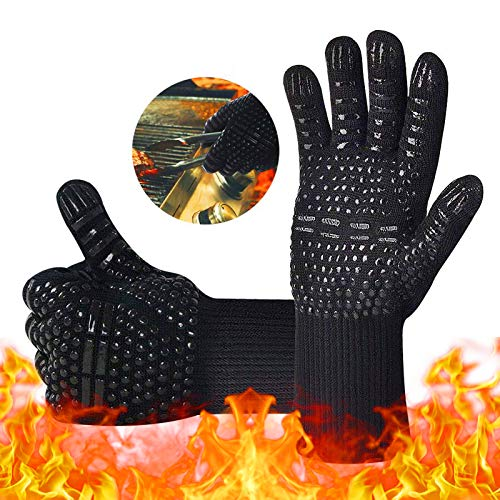 iToncs BBQ Gloves, 1472 ℉ Extreme Heat Resistant Gloves Non-Slip Silicone, High up to 800 ℃ with...