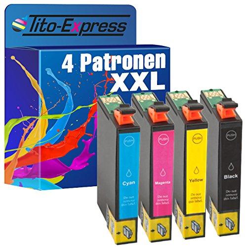 Tito-Express PlatinumSerie Set 4 Tintenpatronen XXL mit Chip kompatibel mit Epson TE1281-TE1284 Epson Stylus S 22 SX 125 SX 130 SX 230