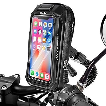 BTNEEU Soporte Móvil Moto Impermeable Soporte Telefono Motocicleta Retrovisor Universal, 360 Rotación Soporte Movil Scooter con Cubierta de Lluvia para Telefono y GPS hasta 6,5''