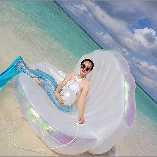 L.W.S Materasso gonfiabile per piscina Bloating Row Air Letto Summer New Shell Letto galleggiante Giocattolo gonfiabile, Perla Gold Shell Shell Grande divano a riga galleggiante Anello di nuoto Anello