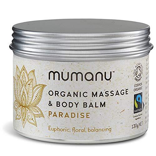 Mumanu Organic Massage Oil & Body Balm - Paradise - with Fairtrade Ingredients - with Jasmine, Clary Sage & Palmarosa Oils. Massage Oils, Massage Oils for Couples