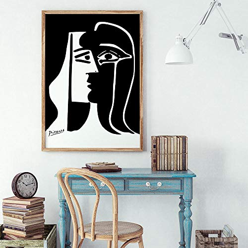 IGNIUBI The Kiss Poster Picasso Wall Art Matisse Abstract Woman Canvas Paintings Black and White Pictures on The Wall Vintage Home Decor 50X70cm No Frame